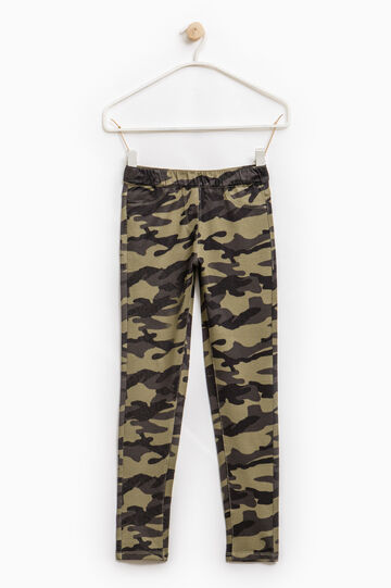 Patterned jeggings in stretch cotton, Army Green, hi-res