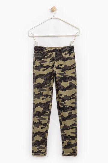 Jeggings cotone stretch fantasia, Verde militare, hi-res