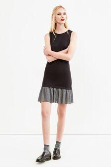 Sleeveless dress with glitter insert, Black/Grey, hi-res