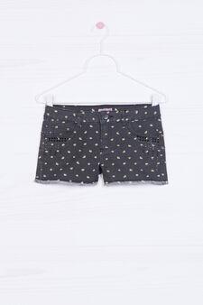 Printed stretch denim shorts., Black, hi-res