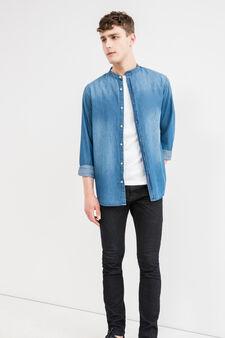 Camicia casual di jeans colletto coreana, Blu, hi-res