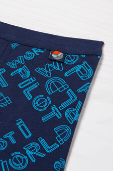 Stretch boxer shorts with pattern in contrasting colour, Navy Blue, hi-res