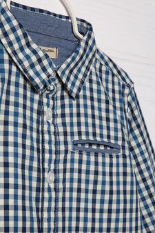Camicia cotone fantasia quadri, Blu, hi-res