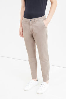 Solid colour regular-fit chino trousers, Mud Brown, hi-res