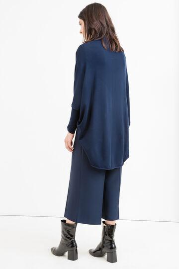 Solid colour viscose blend cardigan, Navy Blue, hi-res