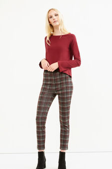 Pantaloni misto viscosa a quadri, Grigio/Rosso, hi-res