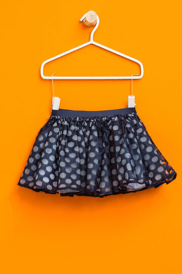 Tulle skirt with polka dot print, Blue/Light Blue, hi-res