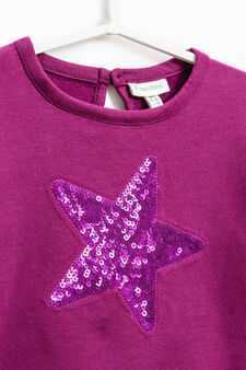 Stretch cotton hoodie with sequins, Royal Purple, hi-res