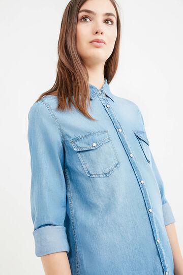 Solid colour denim shirt with pockets, Blue, hi-res
