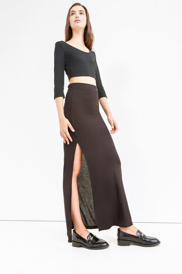 Long skirt with splits, Black, hi-res
