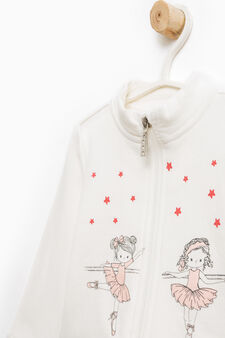Tracksuit with glitter print, Milky White, hi-res