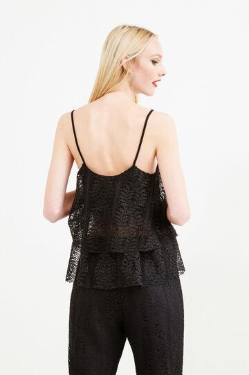 Lace crop top with frills, Black, hi-res