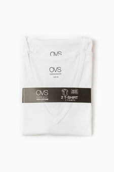 Two-pack undershirts with V neck, White, hi-res