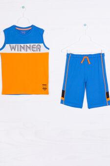 Completo puro cotone stampa lettering, Blu/Arancione, hi-res