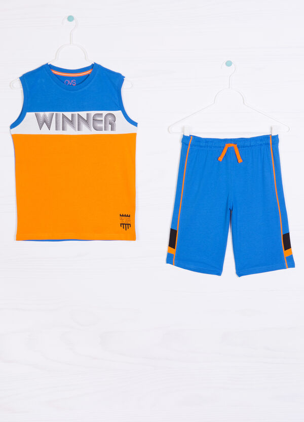 100% cotton outfit with printed lettering   OVS