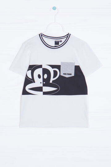 T-shirt cotone stampa Paul Frank, Bianco, hi-res
