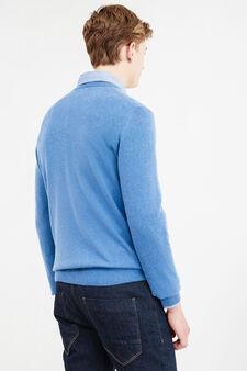 Pullover cashmere e seta tinta unita, Azzurro, hi-res