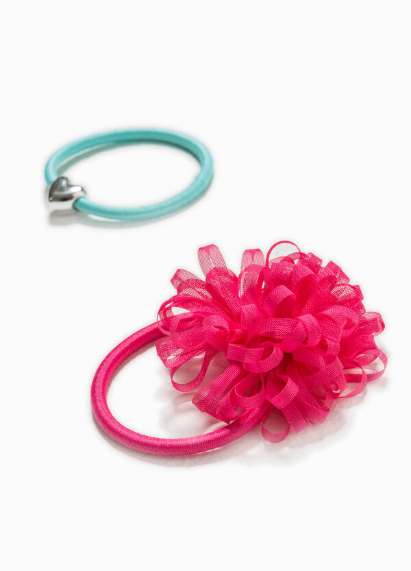Set of two hair elastics with flower | OVS