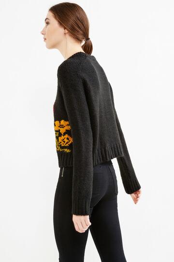 Pullover lavorato a tricot ricamato, Nero, hi-res