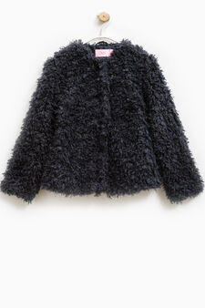 Solid colour, faux fur jacket, Blue, hi-res