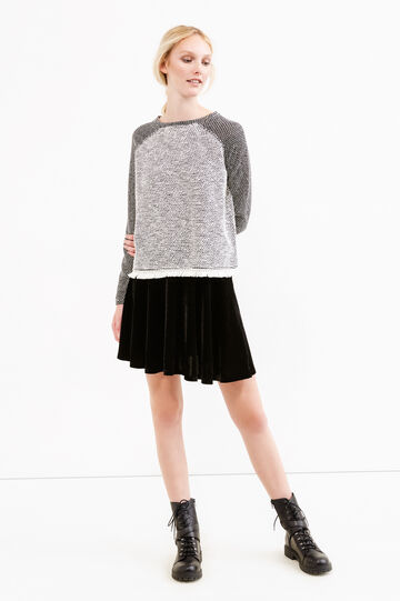 Sweatshirt with raglan sleeves with fringe, Black/White, hi-res