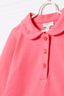Polo cotone stretch con ricamo, Rosa corallo, hi-res
