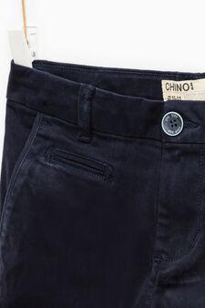 Solid colour stretch cotton trousers, Blue, hi-res