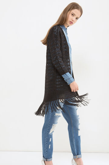 Long cardigan with fringe, Black, hi-res