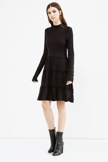 100% viscose dress with ruffles, Black, hi-res