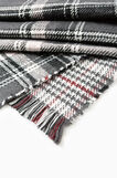 Tartan pattern fringed scarf, Grey/Pink, hi-res