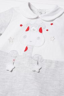 Pure cotton giraffe onesie., White/Grey, hi-res