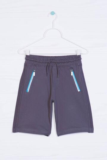 Solid colour 100% cotton Bermuda shorts, Slate Grey, hi-res