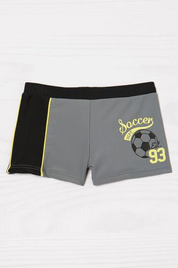 Stretch swim boxer shorts with print, Grey, hi-res