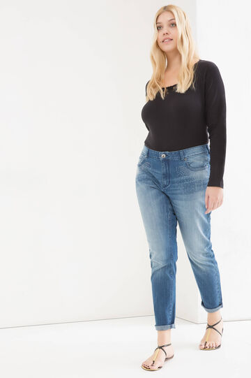 Curvy stretch diamanté jeans, Denim, hi-res