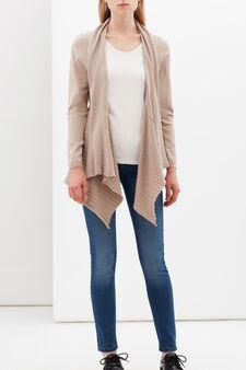 Cotton blend cardigan with lapels, Beige, hi-res