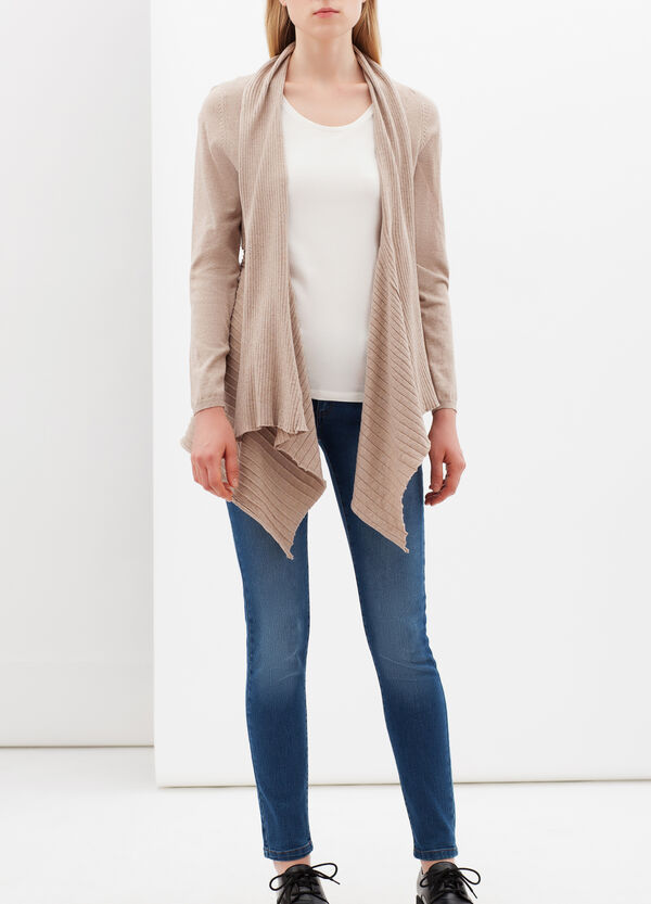 Cotton blend cardigan with lapels | OVS