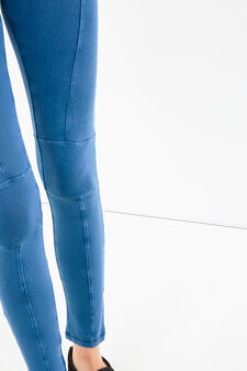 Solid colour stretch cotton leggings, Blue, hi-res