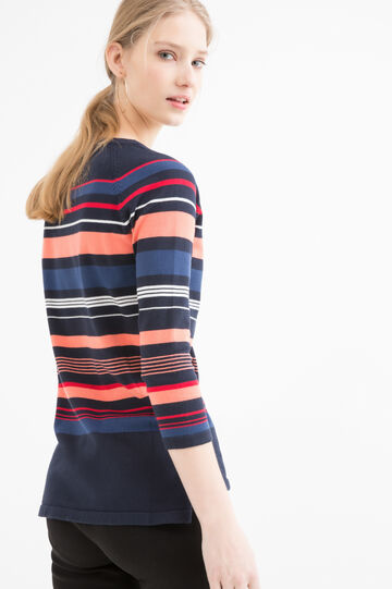 Cotton blend striped pullover.