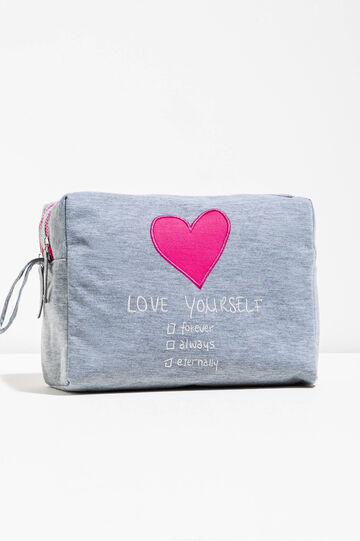 100% cotton pouch with patch and embroidery, Grey, hi-res