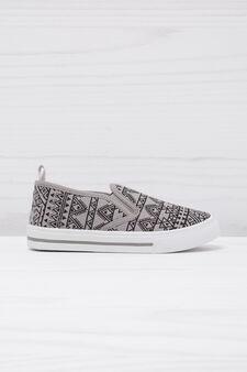 Geometric patterned slip-ons, Grey, hi-res