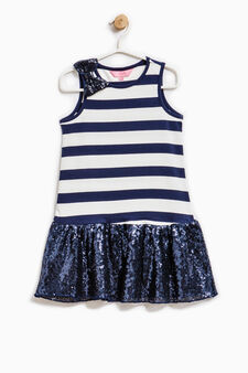 Stretch dress with bow and sequins, White/Blue, hi-res