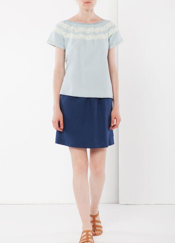 Linen miniskirt with elastic | OVS