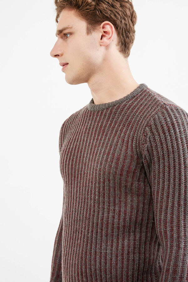 Ribbed and striped pullover | OVS