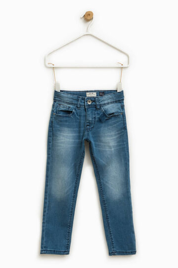 Stretch jeans with whiskering