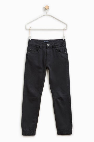 Solid colour 100% cotton trousers, Slate Grey, hi-res
