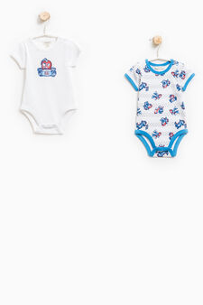 Two-pack patterned bodysuits in cotton, Light Blue, hi-res