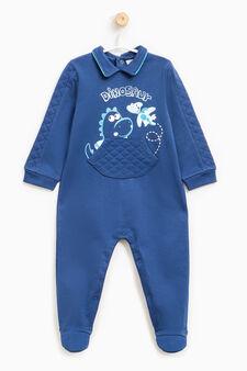 Sleepsuit with dinosaur print, Navy Blue, hi-res