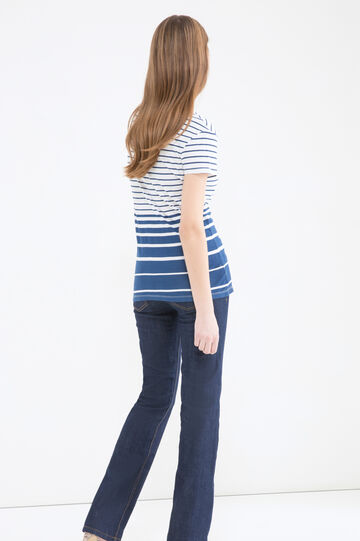 Striped T-shirt with printed lettering, White/Blue, hi-res
