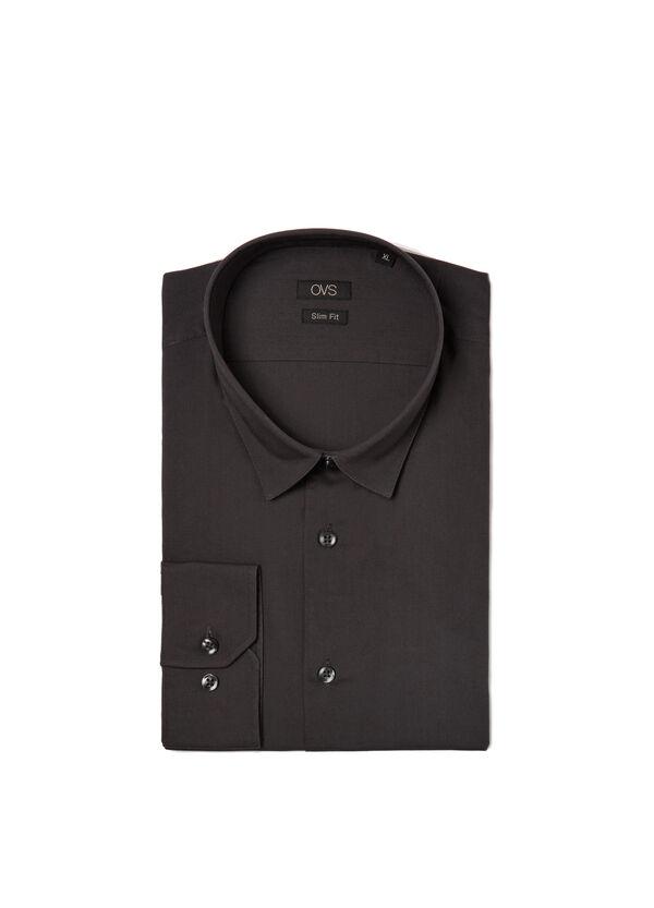 Camicia slim fit misto cotone unito | OVS