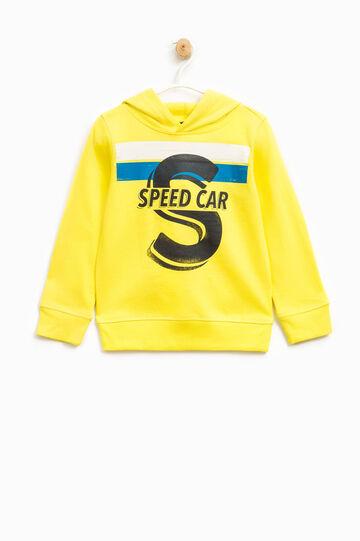 Printed sweatshirt in 100% cotton, Lemon Yellow, hi-res